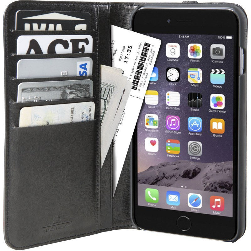 Hex Icon Wallet for iPhone 6 Plus | Black Pebbled Leather