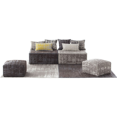Gan Canevas Abstract Square Pouf Ottoman | Silver/Light Gray 02CN28693CL90
