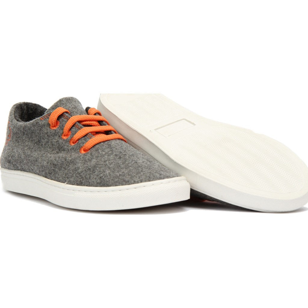 Baabuk Wool Sneaker | Light Grey/Orange 36