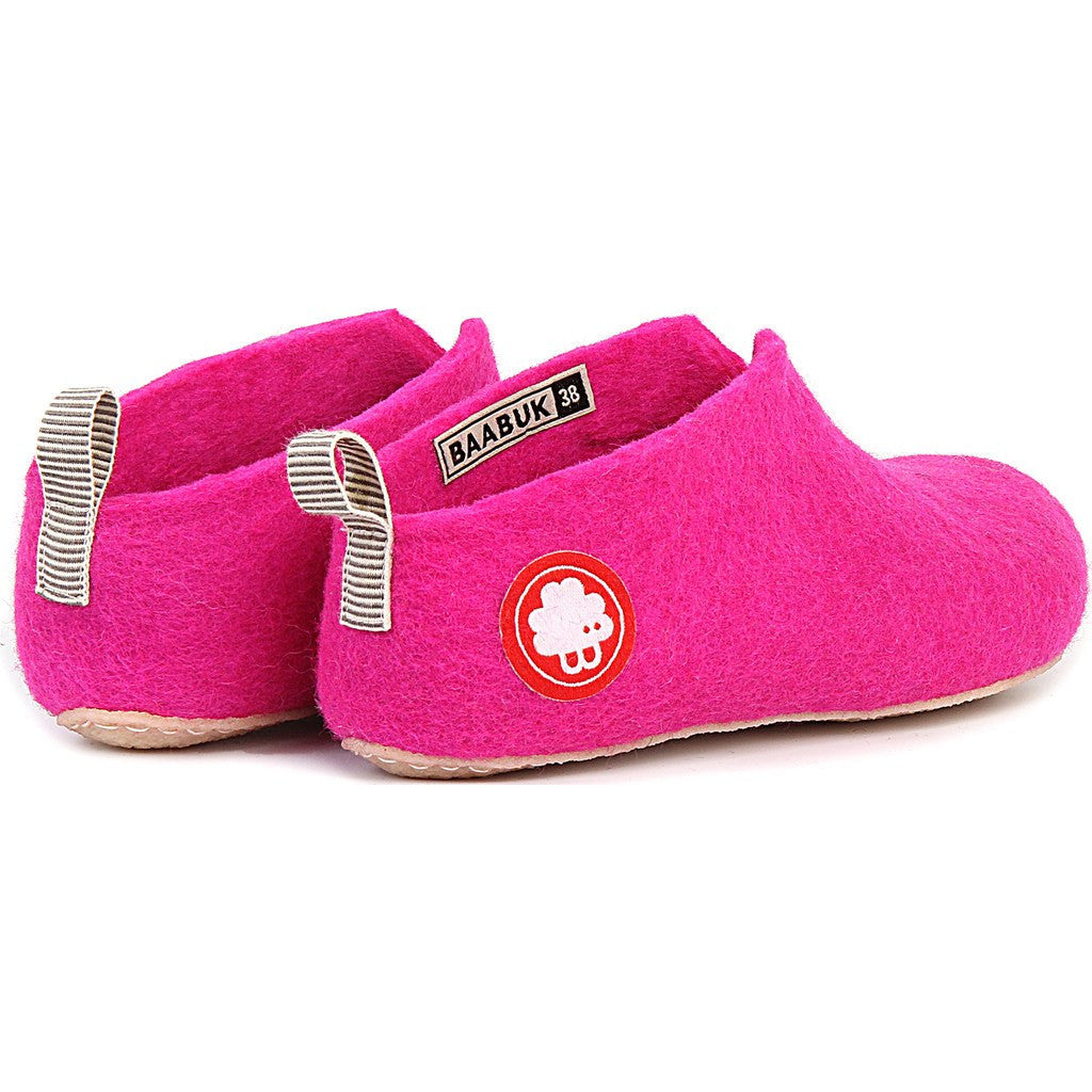 Baabuk Gus Kid's Wool Slippers | Dark Pink 26 GUS03-P2-R-26