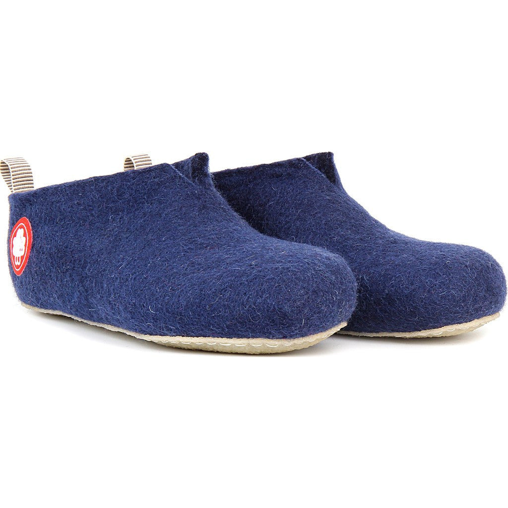 Baabuk Gus Kid's Wool Slippers | Navy Blue 25 GUS03-BL7-R-25