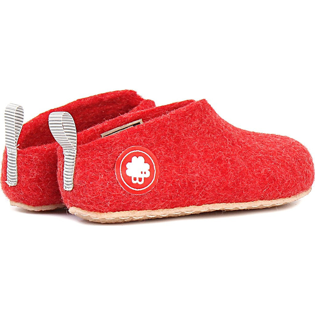 Baabuk Gus Kid's Wool Slippers | Red 25 GUS03-R1-R-25