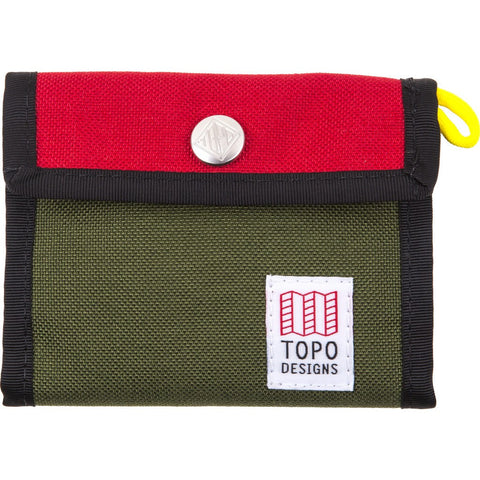 Topo Designs Tri-Fold Snap Wallet | Red/Olive