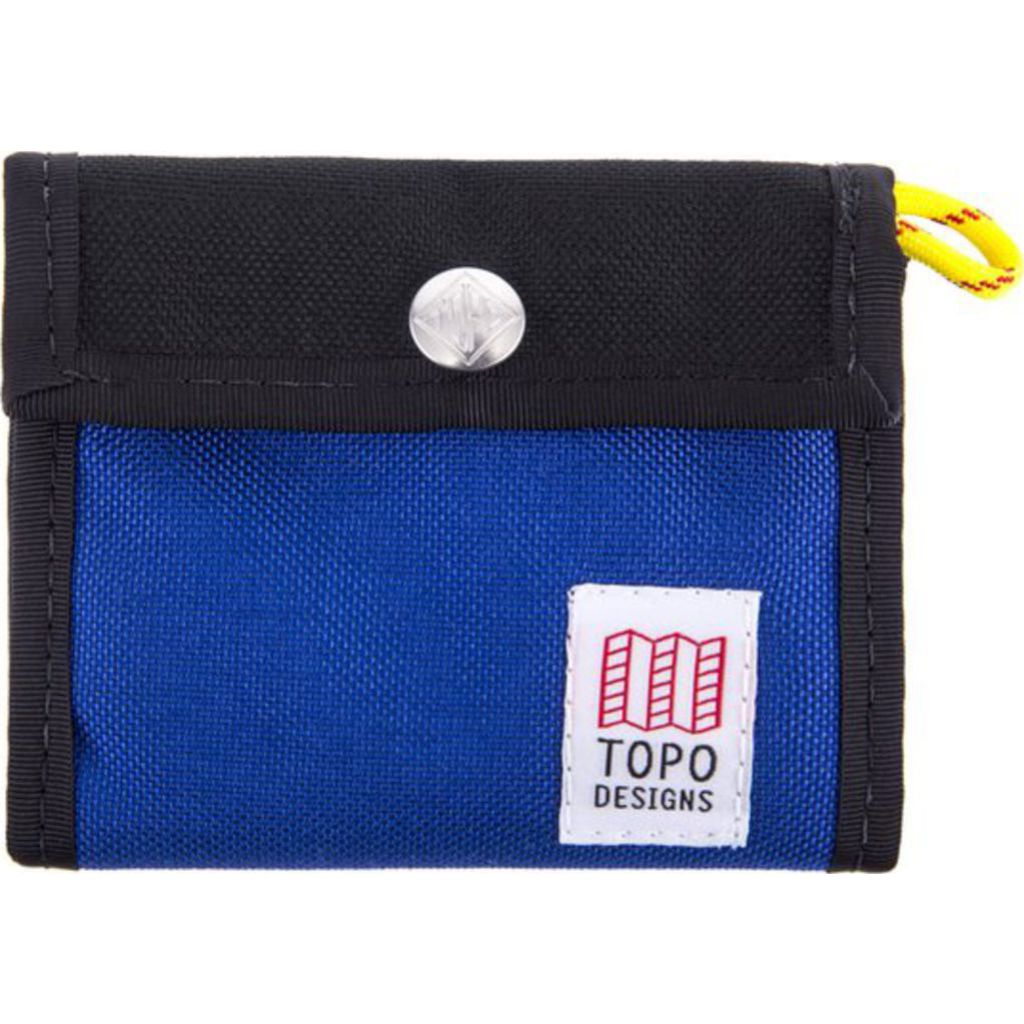 topo designs tri fold snap wallet in black royal sportique