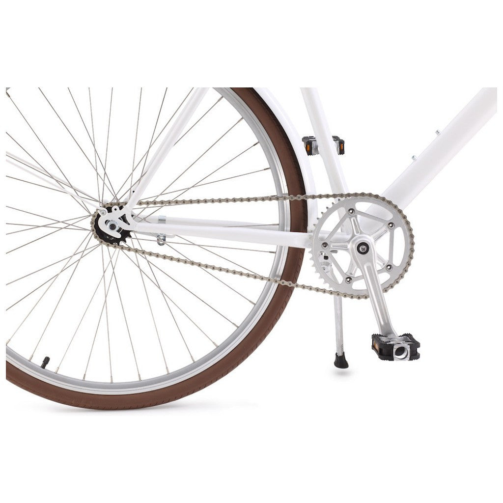 Sole Bicycles Ayu City City Cruiser Bike | Gloss White/Brown Accents CTB 003-50
