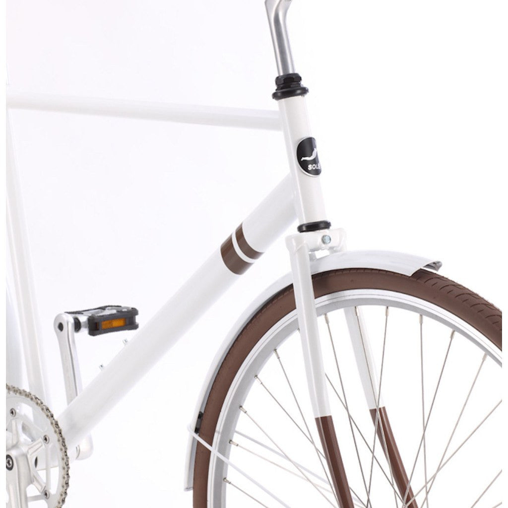 Sole Bicycles Ayu City City Cruiser Bike | Gloss White/Brown Accents CTB 003-54