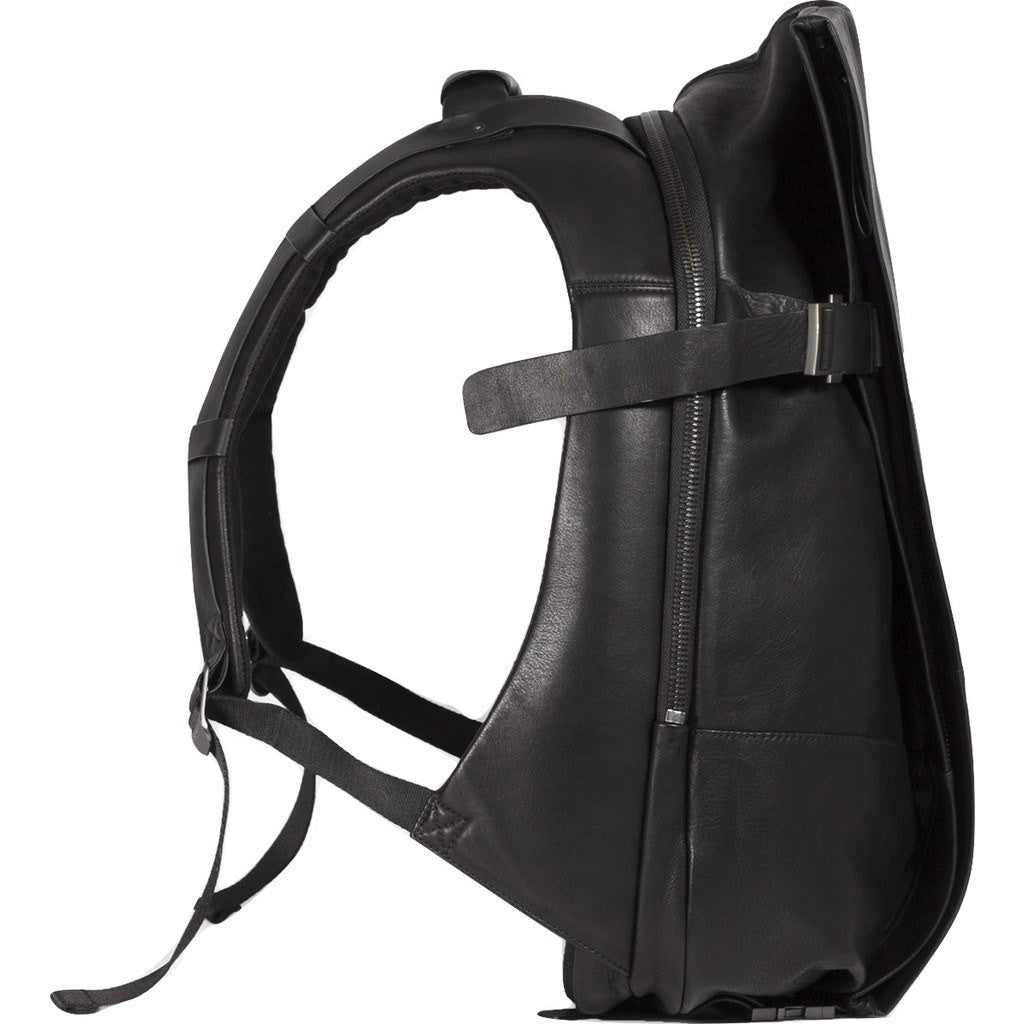 Cote&Ciel Isar Medium Alias Cowhide Leather Backpack | Agate Black 28370