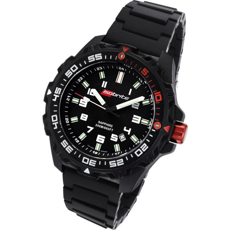 Isobrite Valor ISO100-PU T100 Black-Green Watch | Black Polyurethane