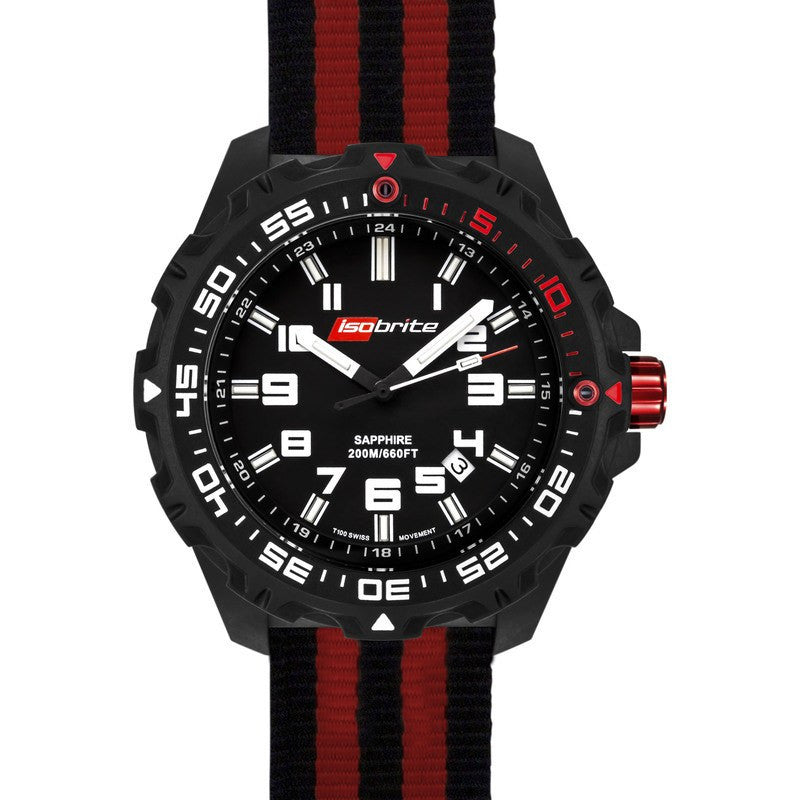 Isobrite T100 Limited Concept Men's Watch Black-Red | Nylon ISO100NTR