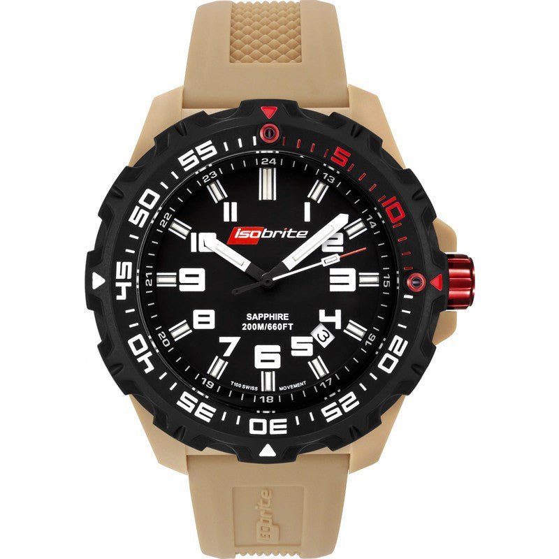 Isobrite T100 Limited Concept Men's Watch Black-Tan | Silicone ISO100TN