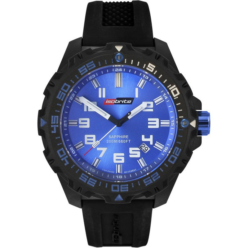 Isobrite T100 Valor Polycarbonate Men's Watch Black-Blue | Silicone ISO301