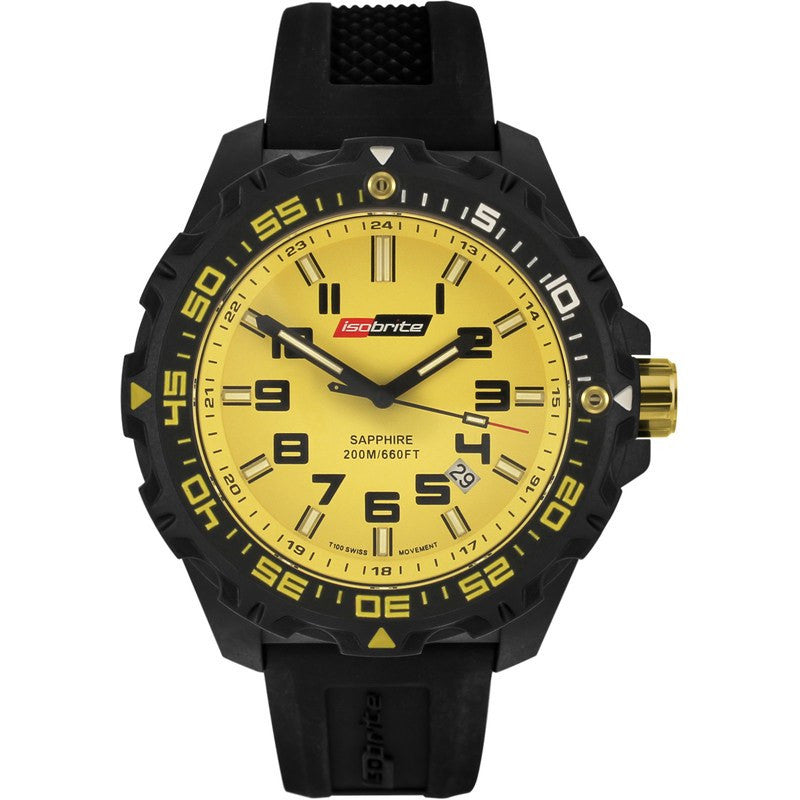 Isobrite T100 Valor Polycarbonate Men's Watch Black-Yellow | Silicone ISO303