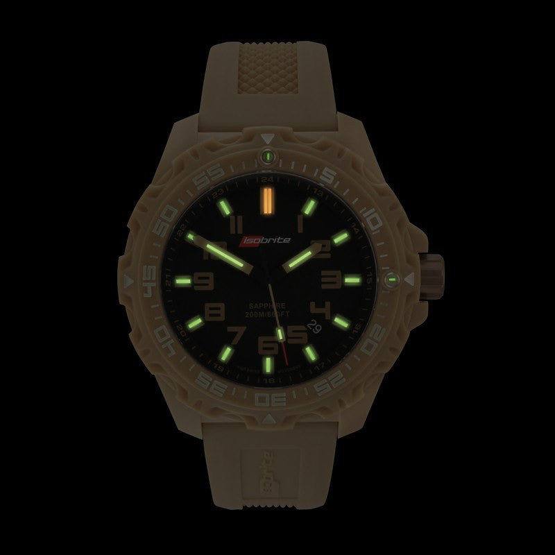 Isobrite T100 Valor Polycarbonate Men's Watch Tan-Black | Silicone ISO304