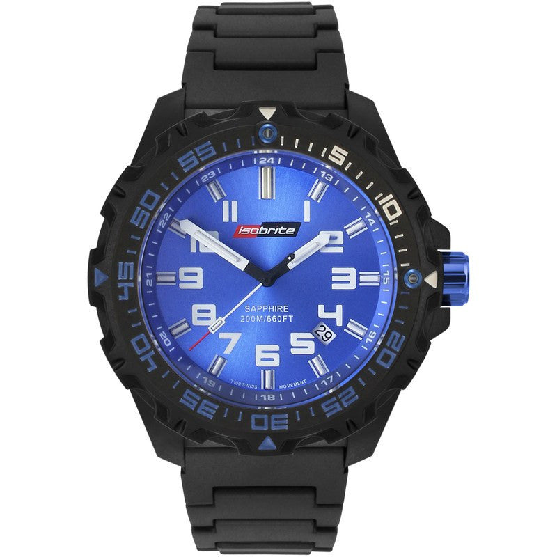 Isobrite T100 Valor Polycarbonate Men's Watch Black-Blue | Polyurethane ISO311