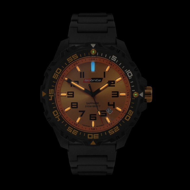 Isobrite T100 Valor Polycarbonate Men's Watch Black-Orange | Silicone ISO312
