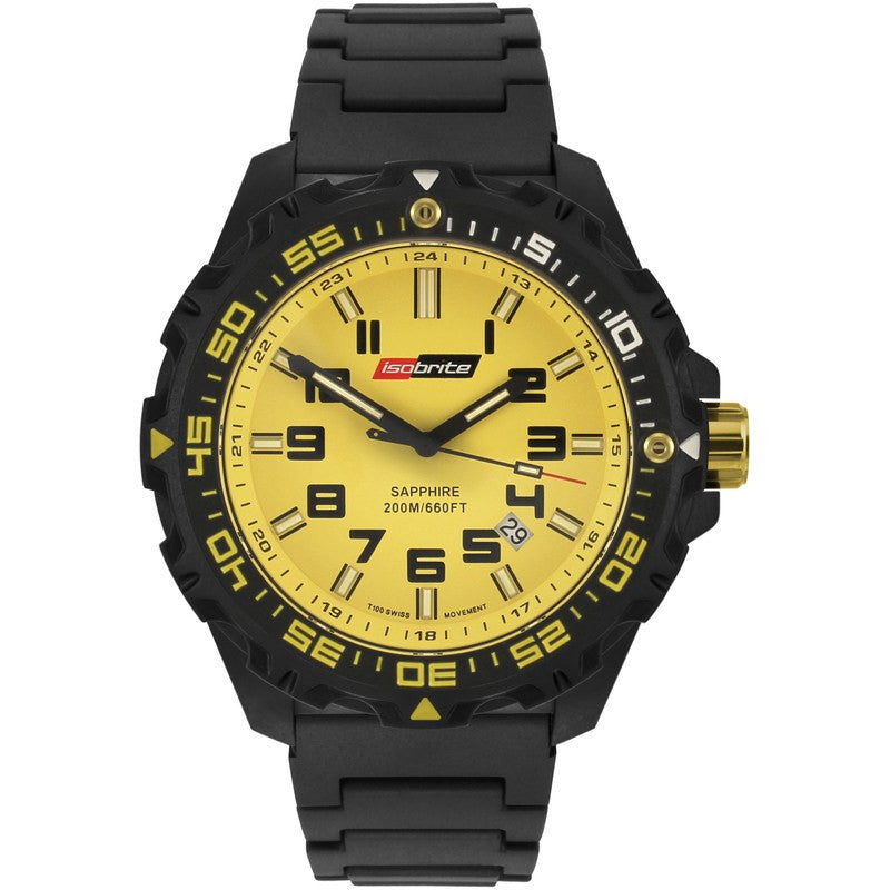 Isobrite T100 Valor Polycarbonate Men's Watch Black-Yellow | Polyurethane ISO313