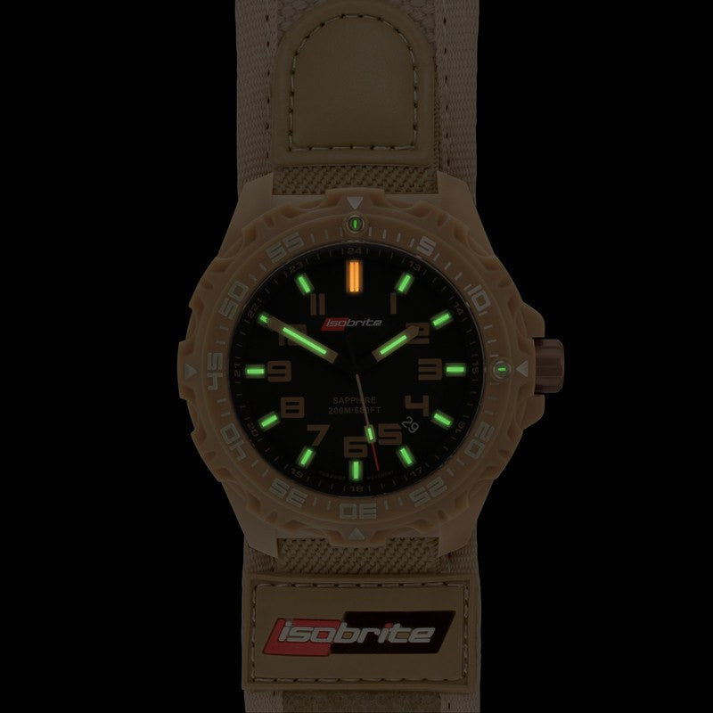Isobrite T100 Valor Polycarbonate Men's Watch Tan-Black | Nylon ISO316