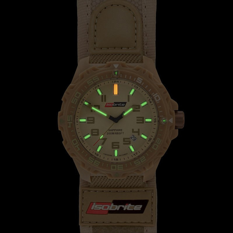 Isobrite T100 Valor Polycarbonate Men's Watch Tan-Green | Nylon ISO317