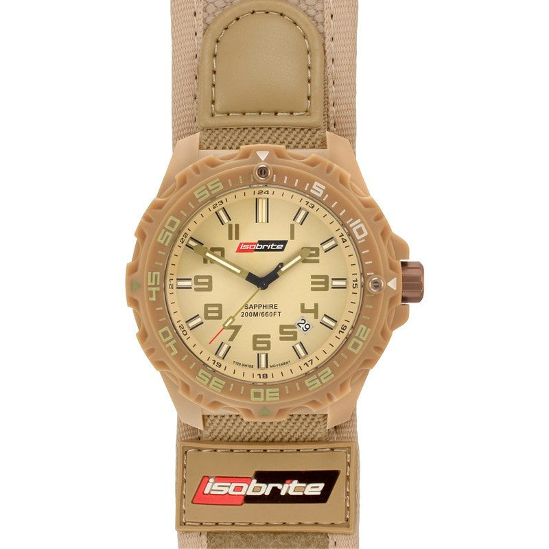 Isobrite T100 Valor Polycarbonate Men's Watch Tan-Green | Nylon ISO315