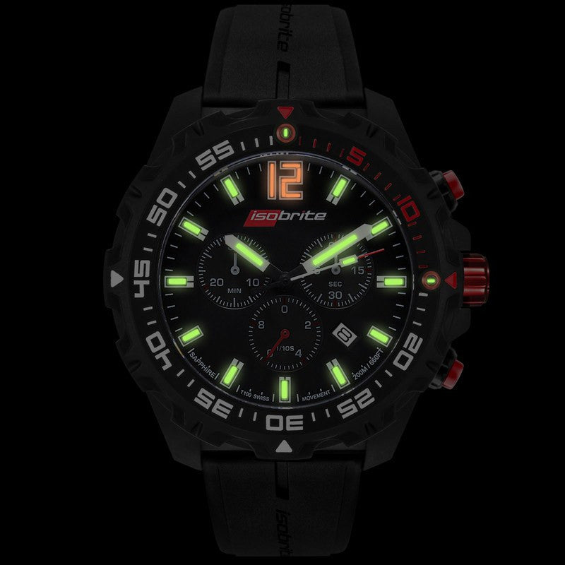 Isobrite T100 Chronograph Polycarbonate Men's Black-Green | Rubber ISO401