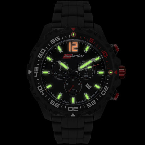 Isobrite Valor Series ISO421 Black Chronograph Watch | Rubber Band