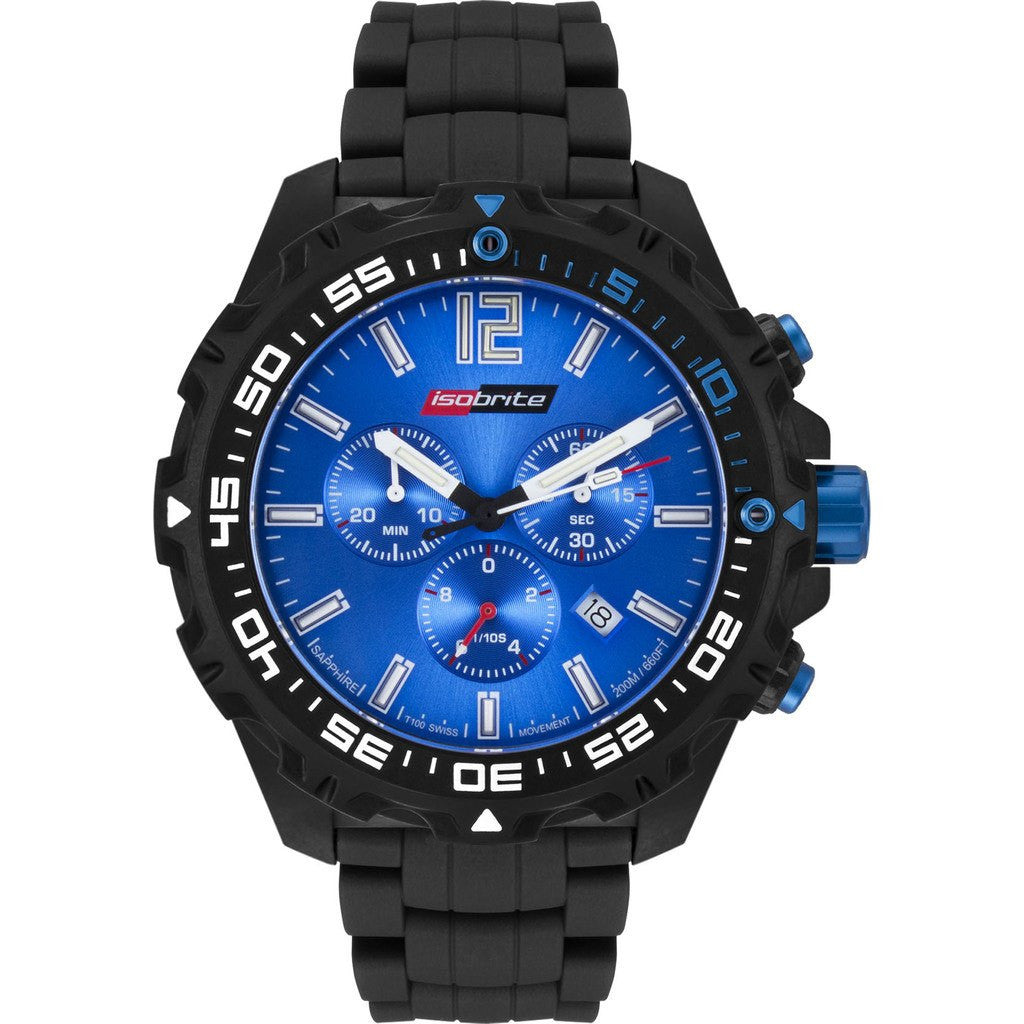 Isobrite Valor Series ISO422 Black Chronograph Watch | Rubber Band