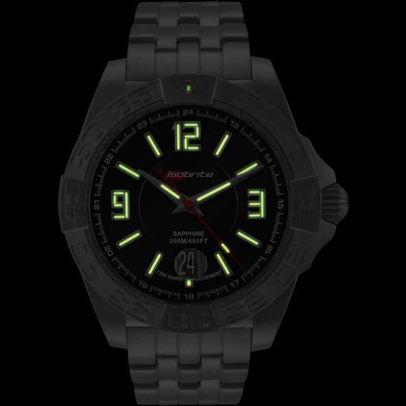 Isobrite Executive Automatic ISO701 T100 Black Watch | Brushed Silver Metal