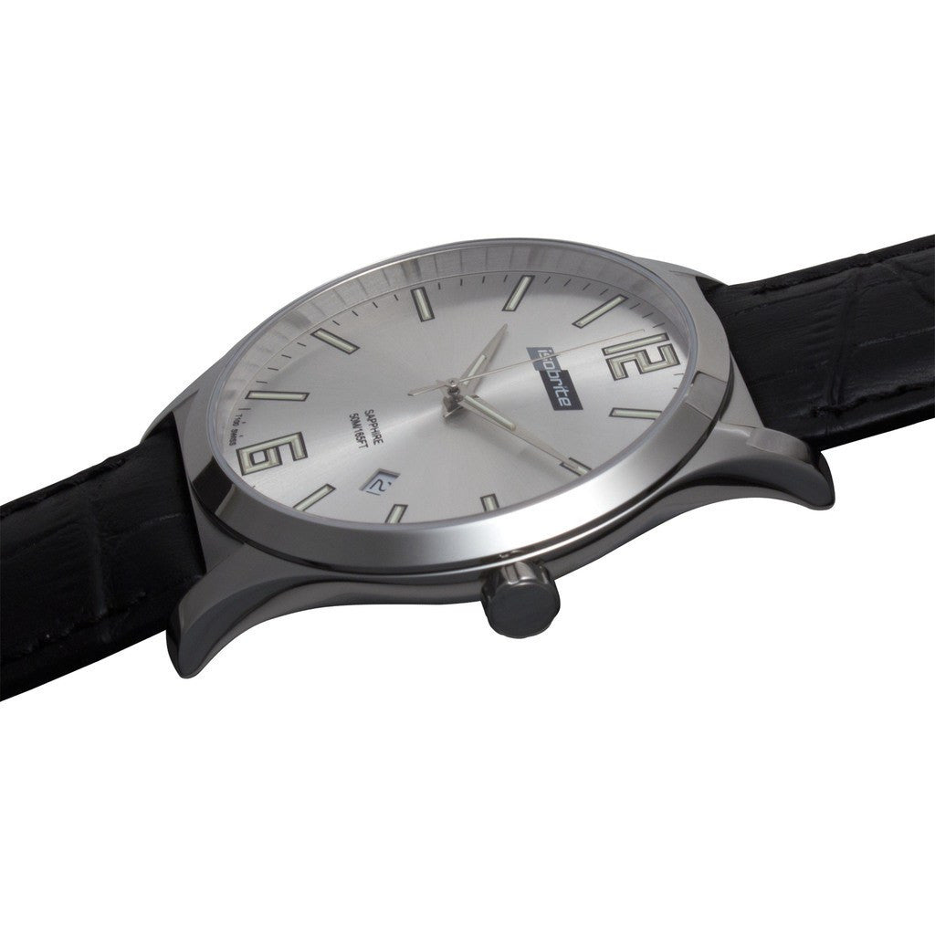 Isobrite Grand Slimline ISO901 Silver Watch | Leather
