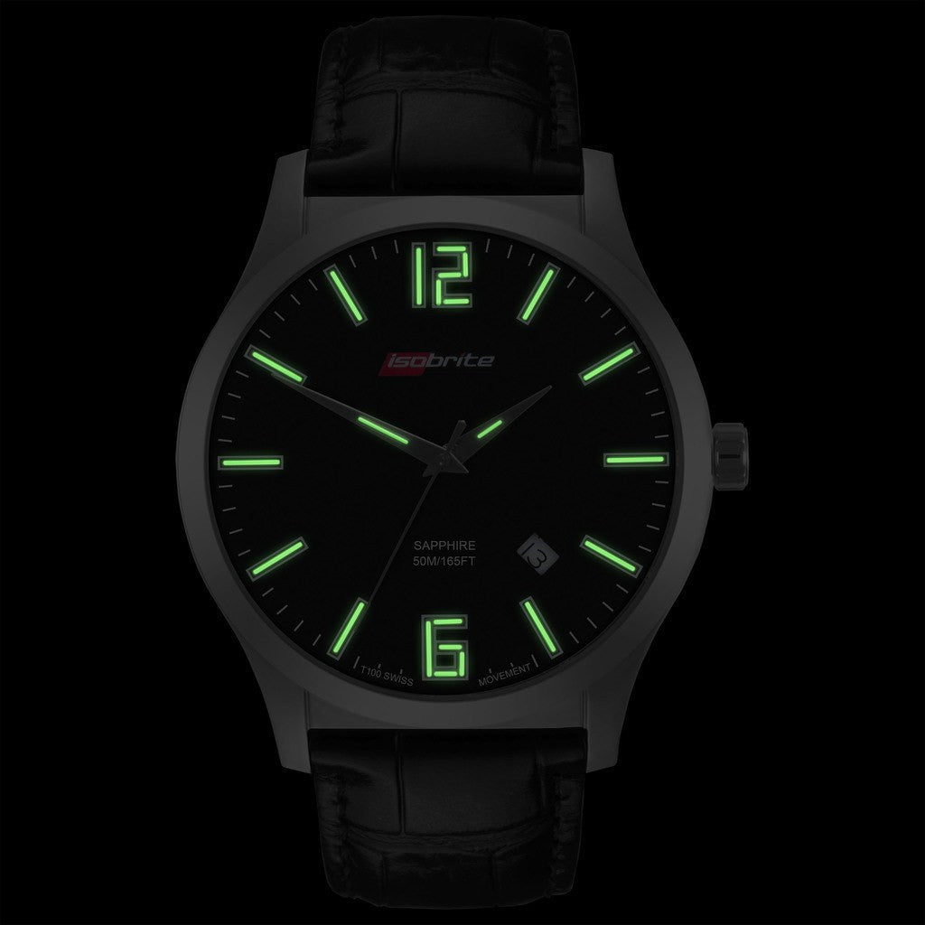 Isobrite Grand Slimline ISO902 Black Watch | Leather