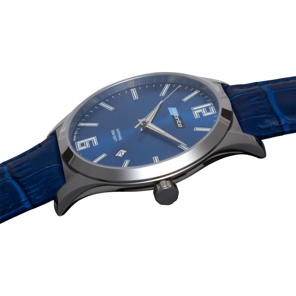 Isobrite Grand Slimline ISO903 Blue Watch | Leather