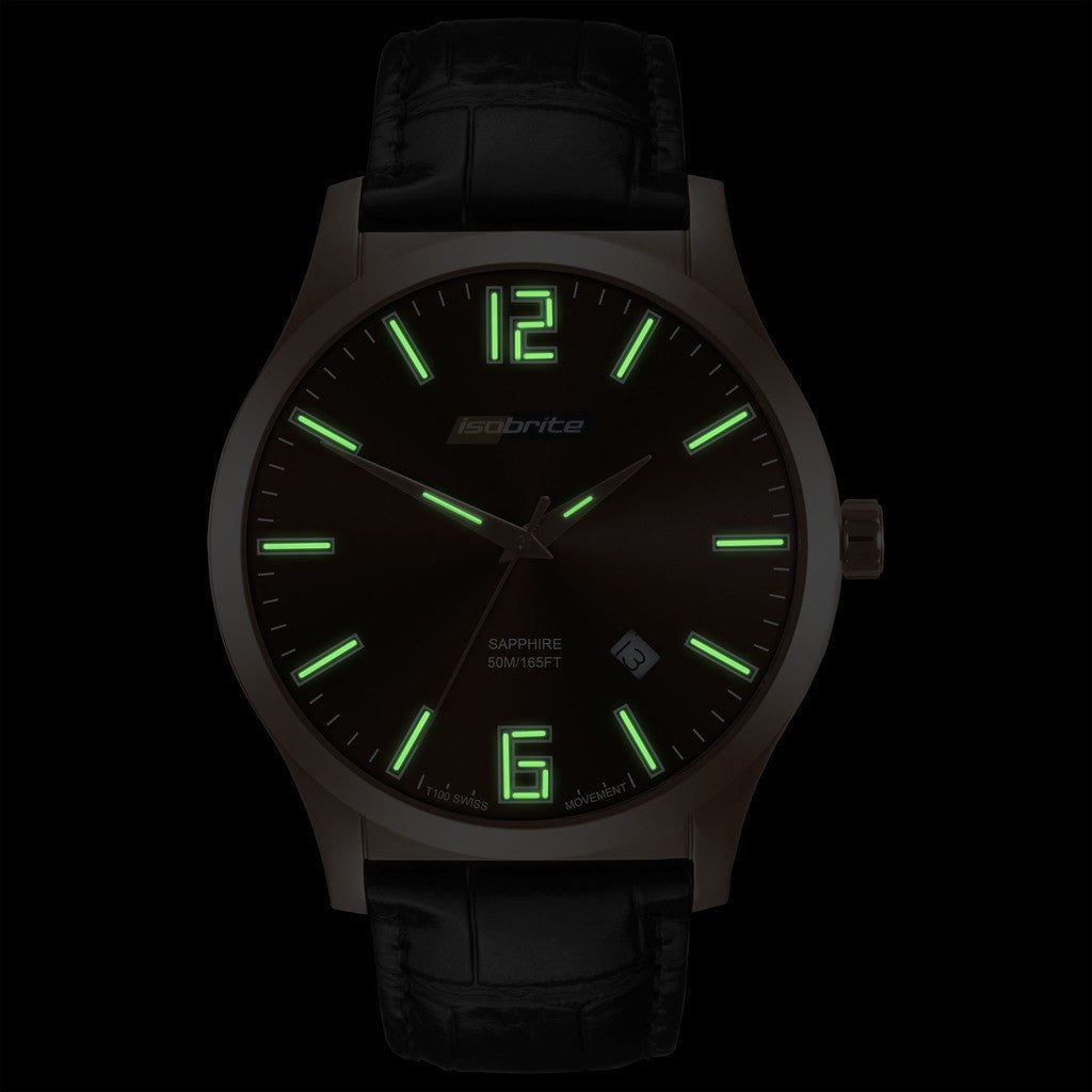 Isobrite Grand Slimline ISO904 Brown Watch | Leather