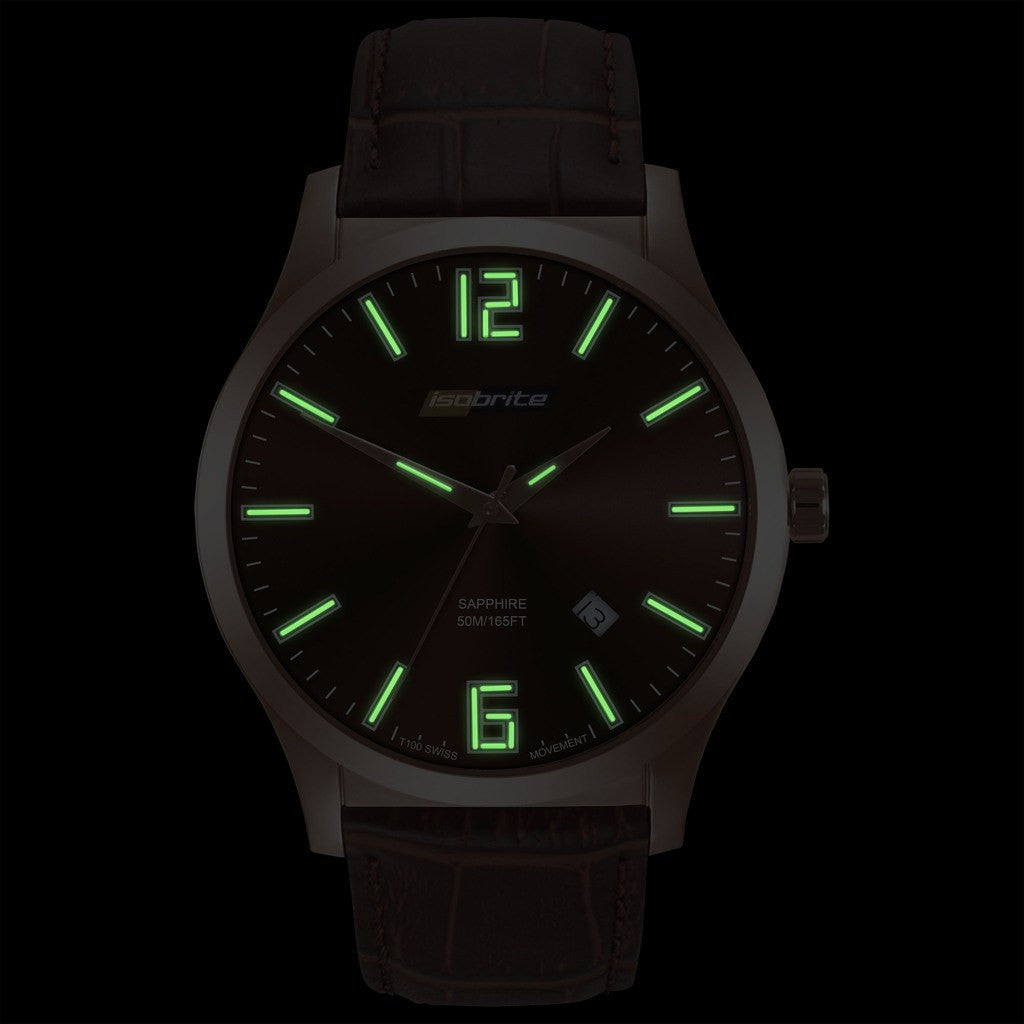 Isobrite Grand Slimline ISO905 Brown Watch | Leather