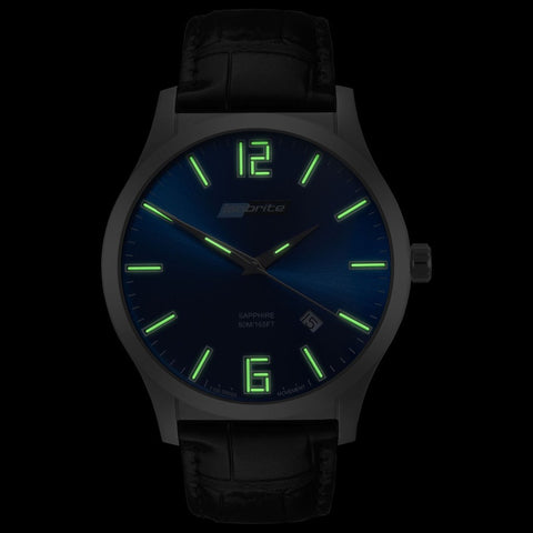 Isobrite Grand Slimline Series ISO906 Blue-Black Watch | Leather