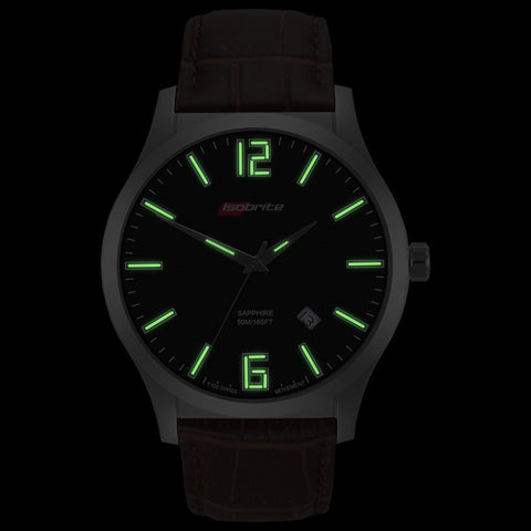 Isobrite Grand Slimline Series ISO907 Black-Brown Watch |  Leather