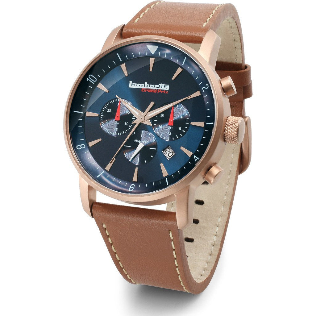Lambretta Imola Rose Gold/Blue Watch | Leather 2196BLU