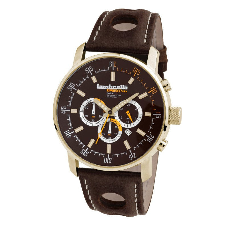 Lambretta Imola Gold/Brown Watch | Leather