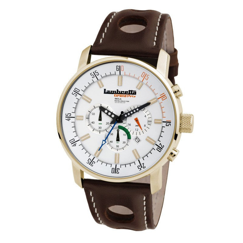 Lambretta Imola Gold/White Watch | Leather