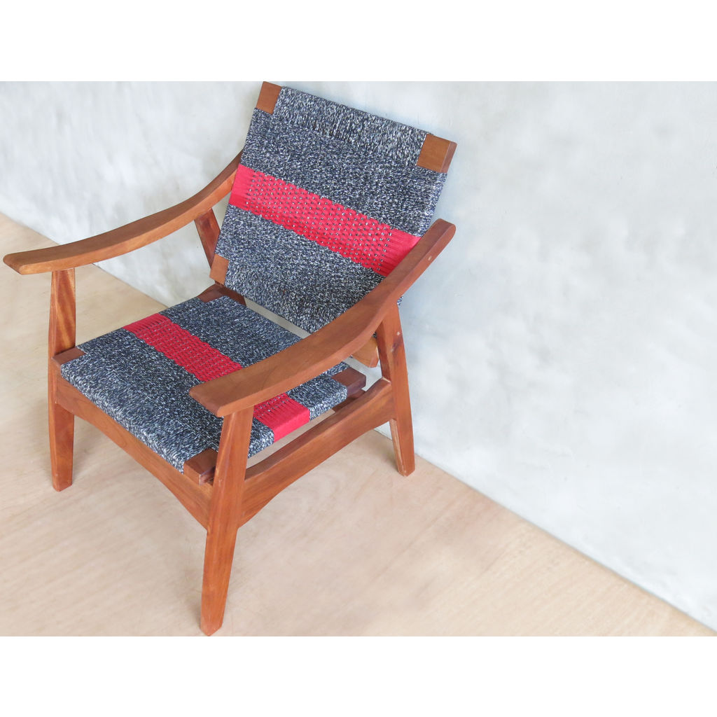 Masaya & Company Izapa Arm Chair Royal Mahogany/Granito Manila with Red Stripe
