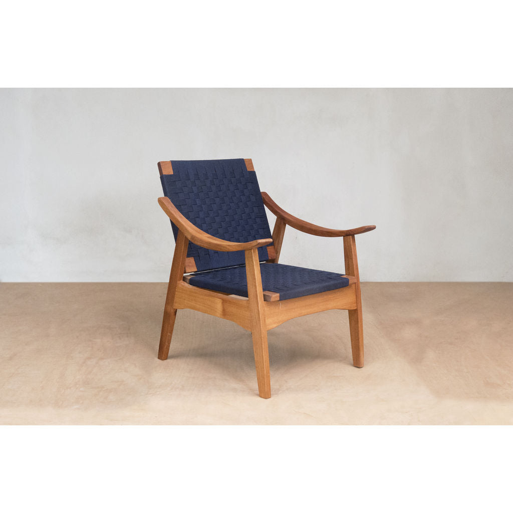 Masaya & Company Izapa Arm Chair Royal Mahogany/Navy Blue Manila Chess Weave