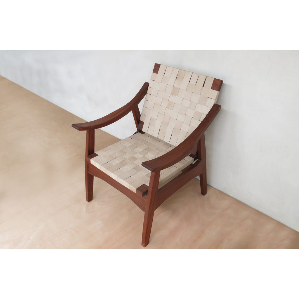 Masaya & Company Izapa Arm Chair Rosita Walnut/Natural Leather
