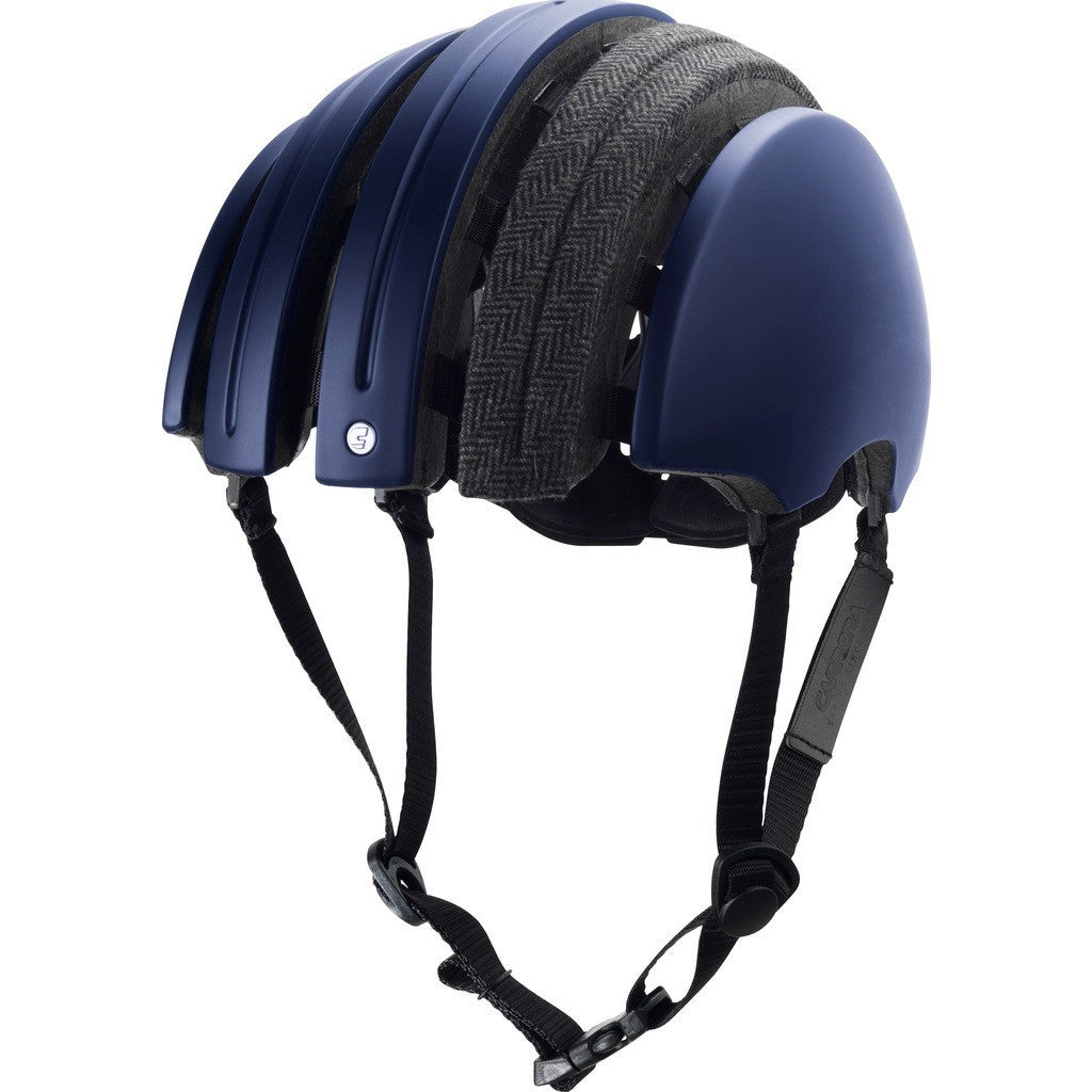 Brooks England x Carrera Foldable Helmet w/ Cover | Blue/Grey Herringbone M
