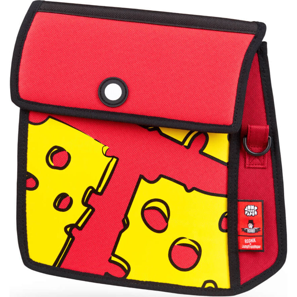 Jump From Paper Cheese Printed Shoulder Bag | Red