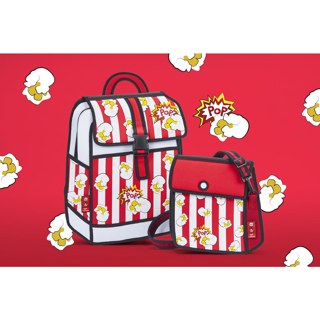 Jump From Paper Popcorn Printed Backpack | Red