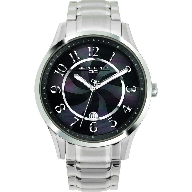 Jorg Gray JG1200-11 Black w/ Pearl Three Hand Ladies Watch | Steel