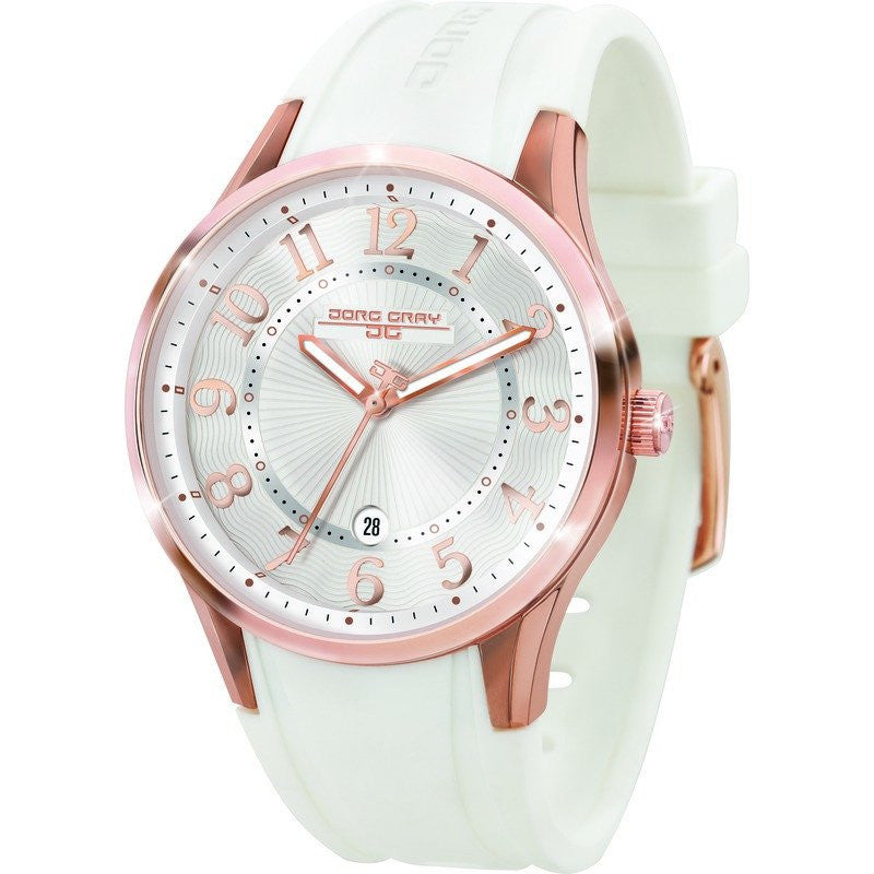 Jorg Gray JG1200-12 White w/ Gold Three Hand Ladies Watch | Rubber