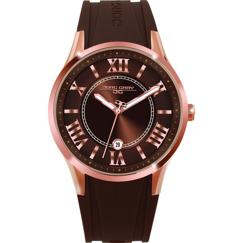 Jorg Gray JG1200-13 Brown w/ Gold Three Hand Ladies Watch | Rubber