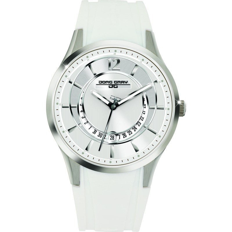 Jorg Gray JG1400-12 White w/ Silver Three Hand Ladies Watch | Rubber