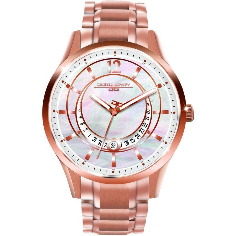 Jorg Gray JG1400-14 White w/ Pearl Three Hand Ladies Watch | Steel