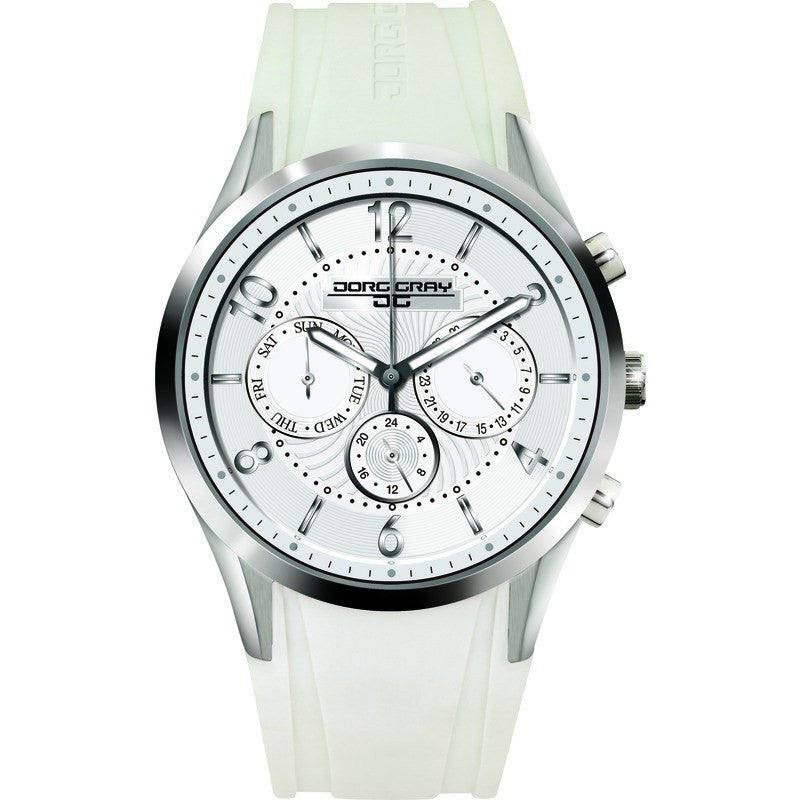 Jorg Gray JG1500-22 White w/ Silver Multi-Function Ladies Watch | Rubber