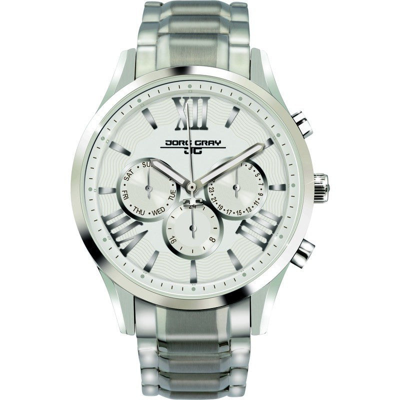 Jorg Gray JG1500-24 White w/ Silver Multi-Function Ladies Watch | Steel